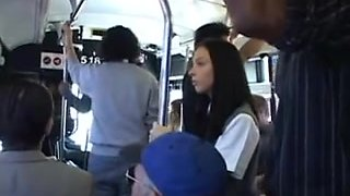 Brunette babe is groped then squirts on a Japanese bus