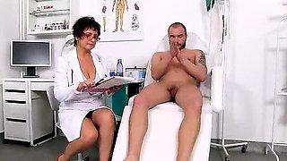 Big tits cougar Greta is naughty nurse at sperm bank clinic