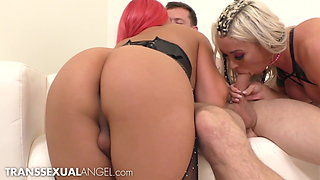 TS Superstars Chanel & Aubrey Share Raw Dick