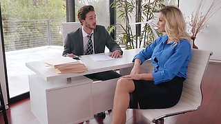 Office babe Kenzie Taylor seduces her boss for some hardcore fucking