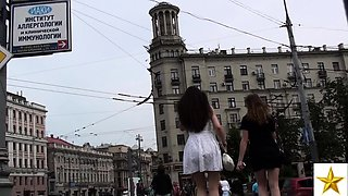 Alluring Russian teen in red panties upskirt in the outdoors