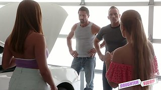 Attractive hottie Sloan Harper and her nasty GF fuck their step dads