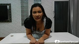 Incredible Asian Maid Suck Off Her New Boss