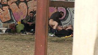 Homeless Threesome Having Sex on Public
