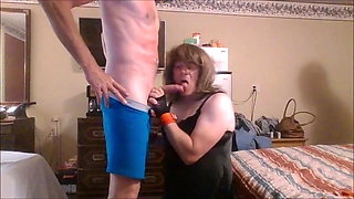 Sissy Crossdresser Guy Sucking Cock with Couple