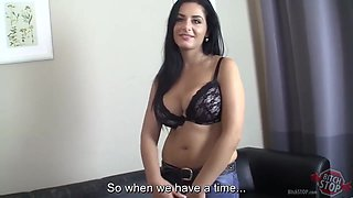 Busty brunette in erotic lingerie, Milena got down and dirty with her boss, in his office