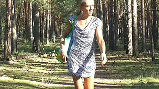 E-Stim outdoor ,Public flashing in wood, jerking off
