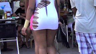 Street voyeur follows cute interracial babes in sexy bikinis