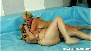 Fat blondes wrestling naked