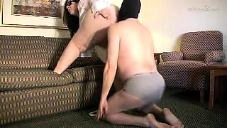 Chunky brunette wife has a masked slave licking her holes