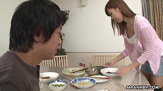 Asian pervert gives a cunnilingus to yummy girlfriend of elder brother
