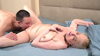 Super horny granny gets pleased by a young porn stud