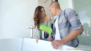Buxom milf mom Kendra Lust ride son stepson's big cock in the bathroom