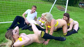 Hung stud copulates on football field with four whores