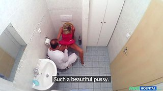 Slim blonde gets creampied after fucking in the toilet and the doctors office