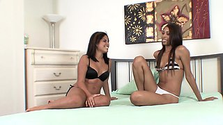 Hot ebony and Latina teens swap cum from a black cock