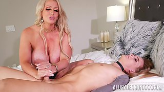 Shemale Rachel Nova with a buttplug enjoys a dick massage by Alura