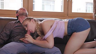 Teenie loves her daddy when humping her ass