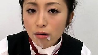 Kinky Oriental girl takes a huge load of semen in her mouth
