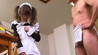 Subtitled surprised Japanese maid and CFNM gentleman
