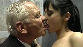 Hot brunette fucks two old guys and gives blowjobs