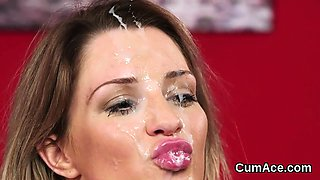 Wacky babe gets cumshot on her face swallowing all the jizz