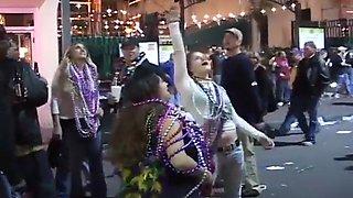 Mardi Gras Whores Flash Their Cleavage