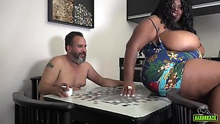 Brazilian BBW with massive milk jugs is getting banged in a local restaurant, on the table