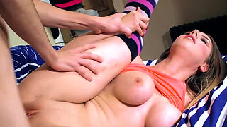 Stella Cox rides her friends brother at the slumber party