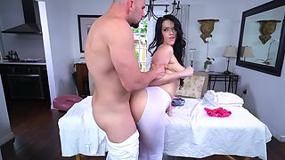 A sexy raven haired girl is getting a dick inside her wet cunt