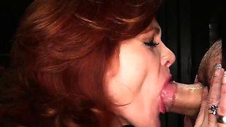 Gloryhole Secrets mature redhead swallows cum