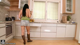Awesome video of Aletta Ocean getting horny and dirty in the kitchen