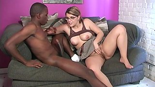 Salacious nerdy Katie Thomas having fun with a black manhood