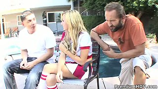 Smoking cheerleader Mae Meyers banngin with two guys and