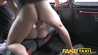FakeTaxi: Juvenile blond with large milk cans in taxi creampie