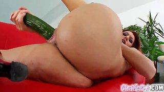 bitch inserts a cucumber in her fucking gash