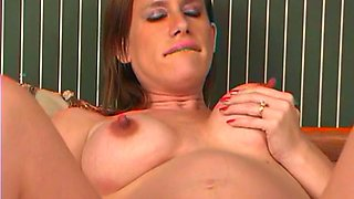 Hawt pregnant hussy sex-toy fucking nooky