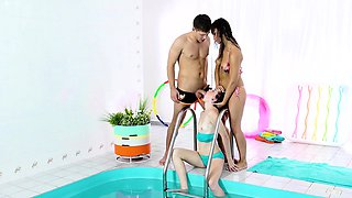 KINKY INLAWS - threesome by the pool with stepbrother