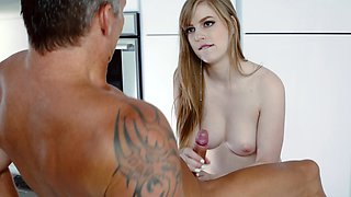 Young pale babe is into older gentlemen, especially this one