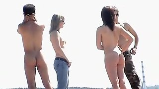 Group of people at a nude beach