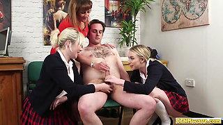 English CFNM schoolgirls jerk off stepdad