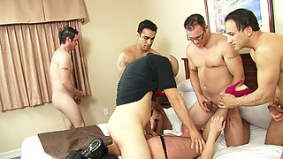 Slutty housewife fucked by a group of horny men while her husband watches