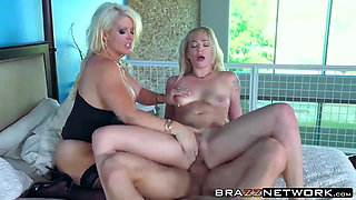 Alura Jenson and Dahlia Sky sharing one big hard cock