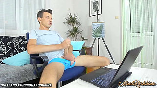 Mom Caught Son Jerking His Big Cock And Handjob Him Until He