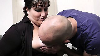 Office sex with boss and busty secretary