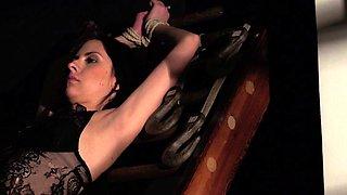 BDSM Hardcore Spanking Sex slave swallows cum bondage