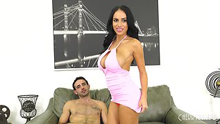 Victoria June bends over for a horny fellow's erected cock