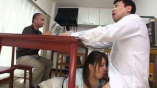 Busty Mature Slut Mizuki Ann Sucks Dick Under the Table