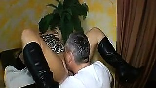 Kinky blonde wife has a guy tonguing and fisting her peach