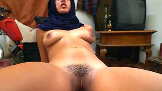 Stunning Arab princess with perky boobs bounces on hard dick